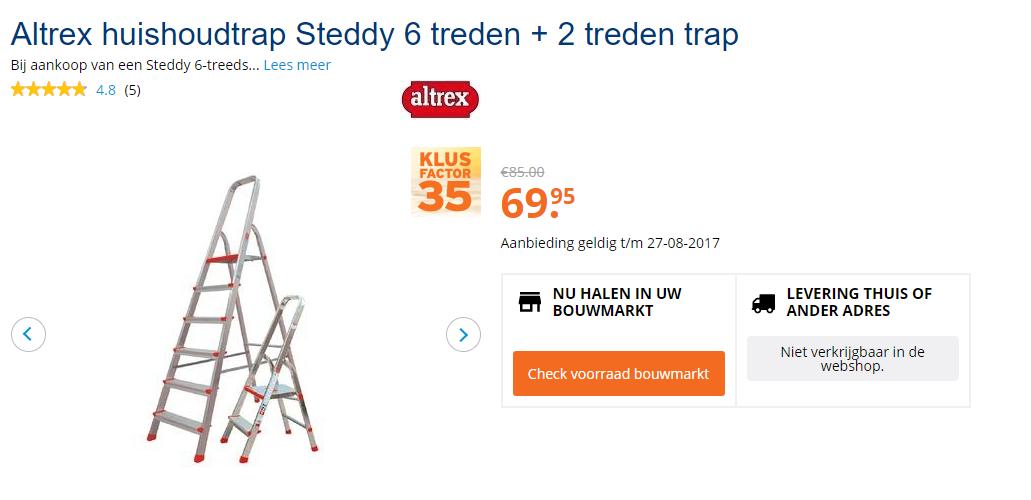 Genoeg Altrex huishoudtrap Steddy 6 treden voor €69,95 en 2 treden trap OC33