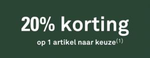 20% korting op 1 artikel naar keuze