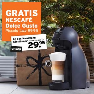 Gratis Nescafe Dulce Gusto machine t.w.v. €89,95 bij aankoop Nordmann kerstboom voor €29,95