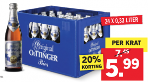Krat Oettinger pils voor €5,99