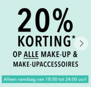 Vanavond 20% korting op make-up en make-upaccessoires