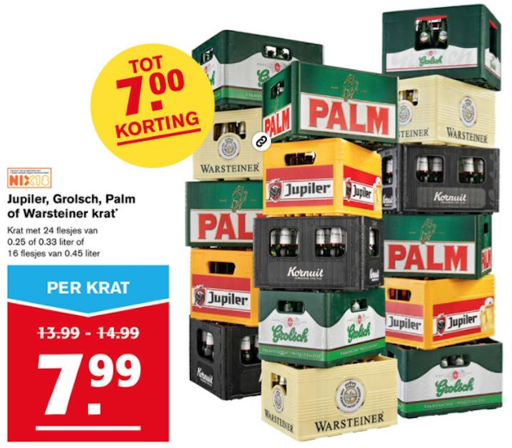 Krat Jupiler, Grolsch, Palm of Warsteiner voor €7,99