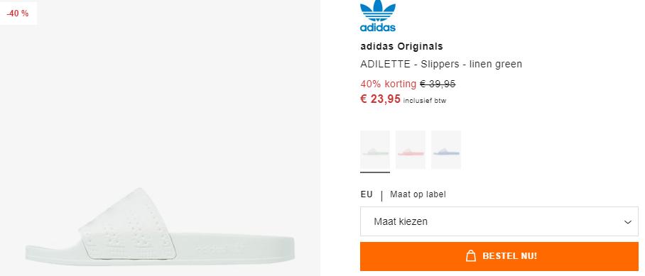 adidas Originals ADILETTE Slippers linen green voor €23,95