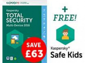 KasperskyTotal Security Multi-Device 2016 (1 jaar, 5 apparaten) voor €2,55