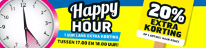 Happy Hour 1 uur lang extra korting op woensdag 26 juli bij Trekpleister