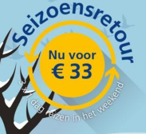 Seizoensretour najaar: 3x 1 dag reizen in het weekend voor €33