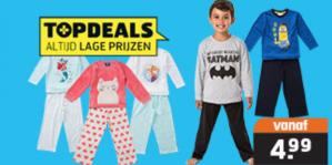 Kinder pyjama's voor €4,99