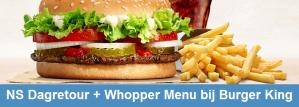 NS Dagretour en Whopper menu bij Burger King voor €21