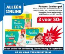 Pampers jumbo+ pakken 3 voor €50