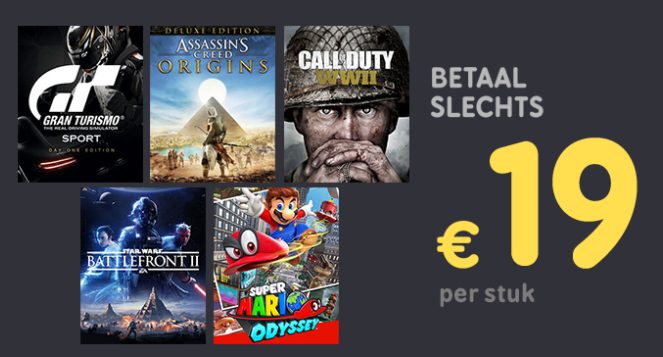 Diverse topgames voor €19 bij inlevering van 2 games of €39 bij 1 game