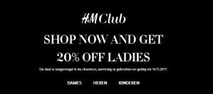 H&M sale voor club leden 20% korting