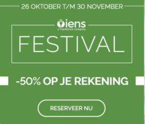 50% korting op je hele rekening tijdens het IENS Festival