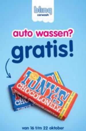 Tony's Chocolonely Gratis bij Blinq carwash in Apeldoorn