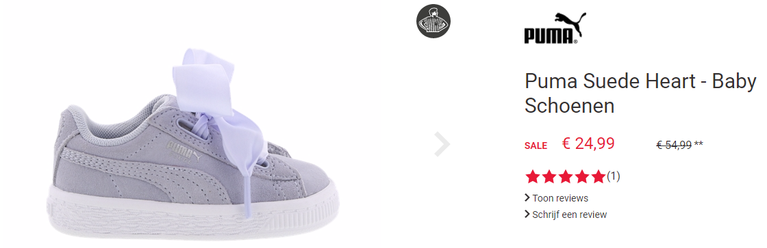 639810f4445 Koop deze Puma Suede Heart baby sneaker voor slechts €24,99 bij Footlocker.