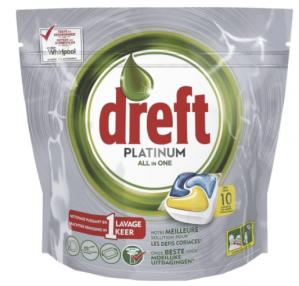 Dreft Platinum Lemon All-In-One 10 Vaatwastabletten voor €1
