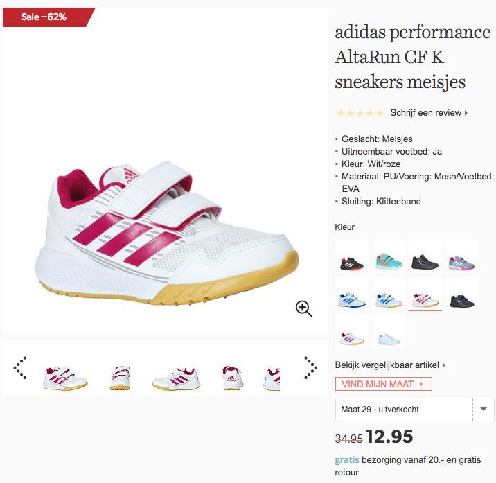 d11d3717be5f62 Adidas performance AltaRun CF K sneakers meisjes voor €12,95