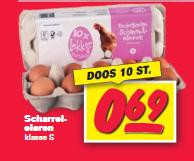 Scharreleieren klasse s doos 10 stuks voor €0,69