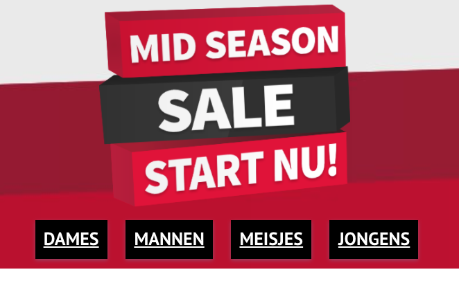 Tot 70% korting tijdens de Mid Season Sale + 12,5% EXTRA korting dmv code