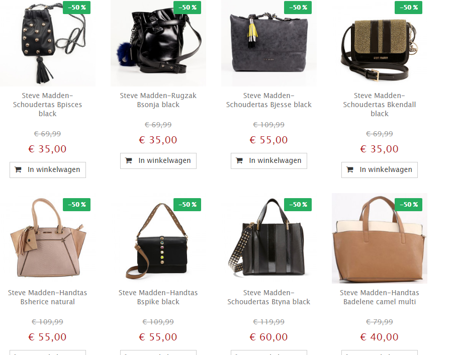 Spiksplinternieuw Shop steve madden tassen met 50% korting NY-05