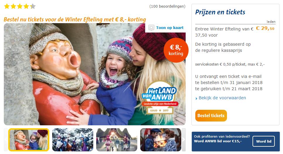 tickets winter efteling voor €29,50