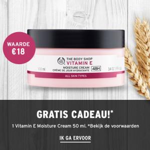 1 vitamine E moisture cream Gratis en 20% korting d.m.v. code