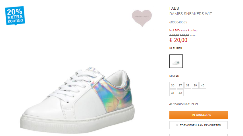 Fabs Sneakers Dames €20 Wit Trendy Voor 1cTJF3lK