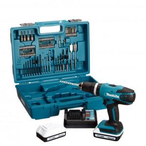 Makita HP457DWE10 18 V Li-ion accu klopboor-/schroefmachine + 74 delige accessoiresset (2x 1.3Ah accu) in koffer voor €169