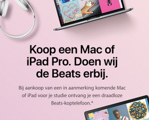 Gratis beats koptelefoon bij aankoop Macbook of iPad