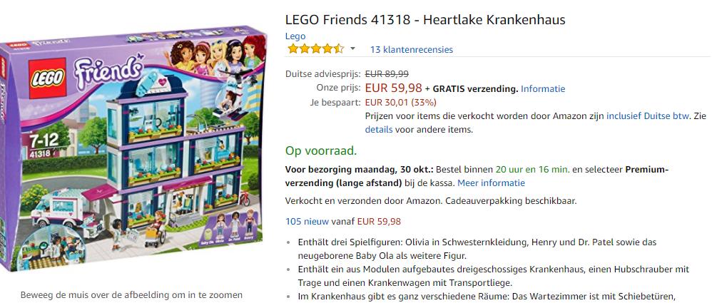 Lego Friends Heartlake Ziekenhuis 41318 Voor 5998
