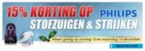15% korting + 5% extra korting op stofzuigen en strijken van Philips