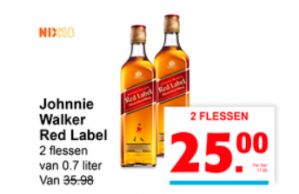 Johnnie Walker Red Label 2 flessen voor €25