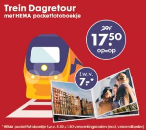 NS dagretour met gratis HEMA pocketfotoboekje voor €17,50