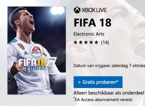 Speel FIFA 18 gratis op de Xbox (10 uur lang)