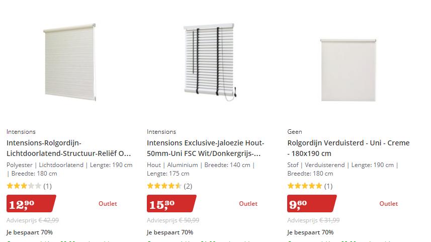 Bol.com Sale 70% korting op rolgordijnen, kant & klaar gordijnen ...