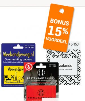15% korting AH Cadeaukaarten van o.a. Zalando