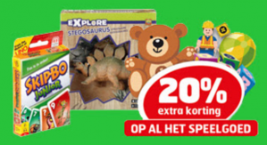 20% extra korting op al het speelgoed