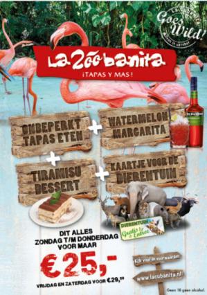 La Zoobanita arrangement incl. eten en een voucher voor een dierentuin voor €25
