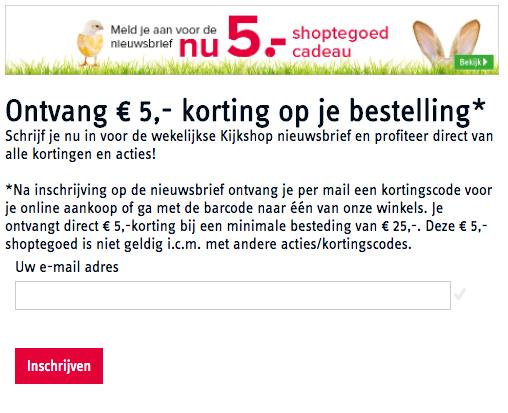 kortingscode kijkshop voor €5 korting op alles