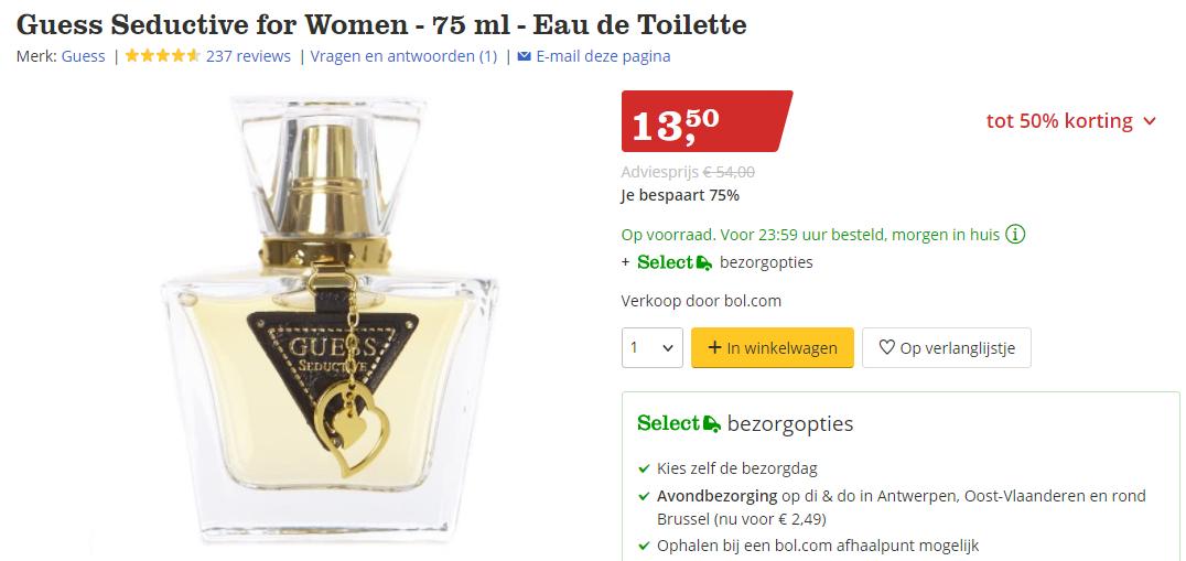 Guess Seductive Eau De Toilette For Women 75 Ml Voor 1350