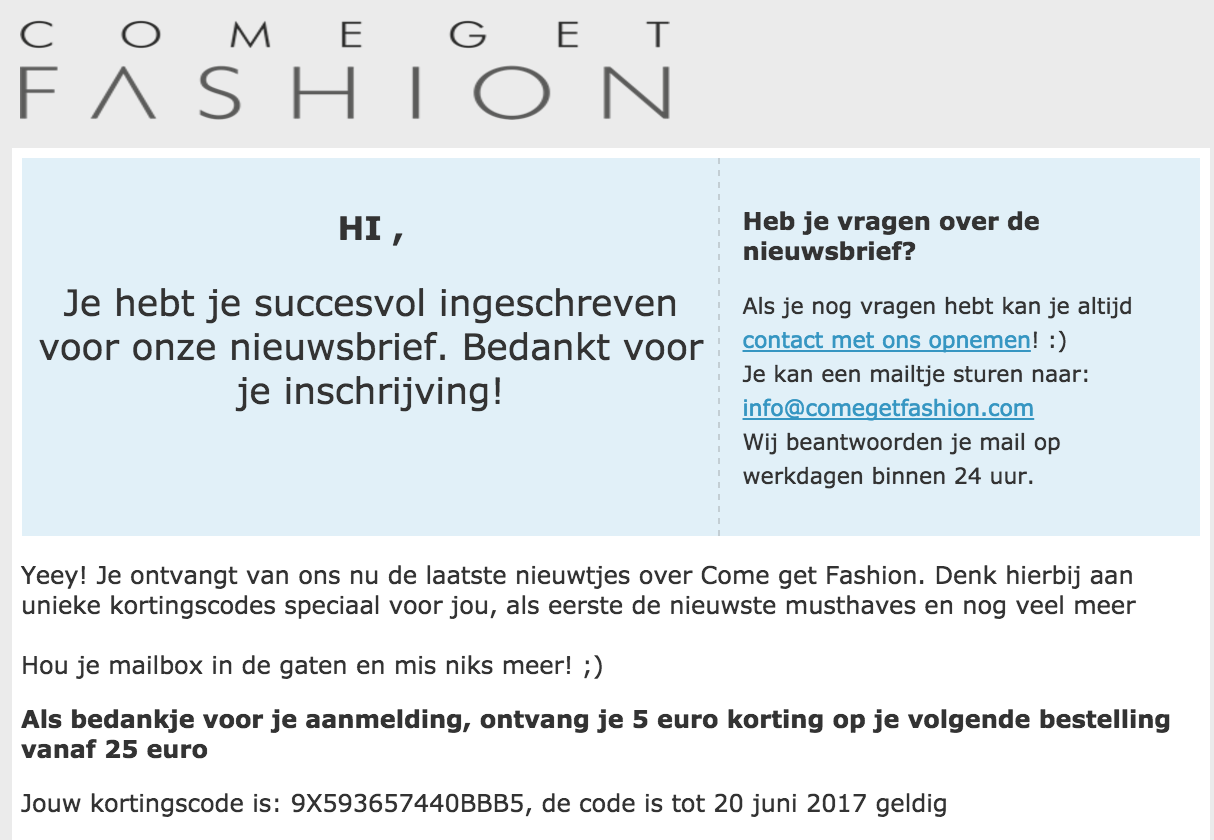 26a934bb7a0c45 Kortingscode Comegetfashion voor €5 korting op alles