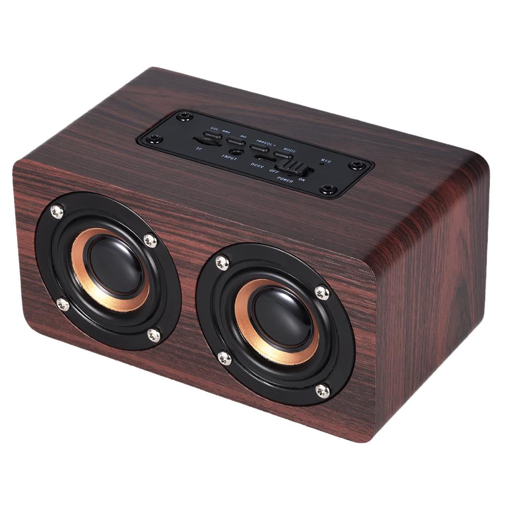W5 Red Wood Grain Bluetooth 4.2 Dark Dual Speaker voor €15,11