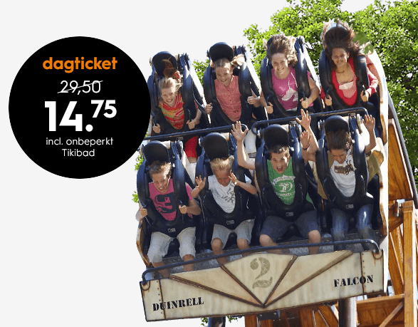 Entree tickets Duinrell  inclusief Tikibad voor €14,75
