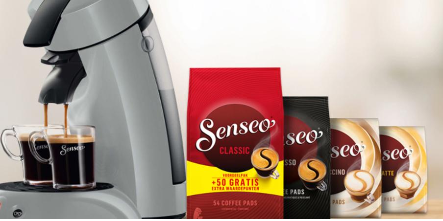 Philips Senseo + koffieglazen en koffiepads voor €49,99