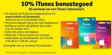 iTunes bonustegoed van 10%