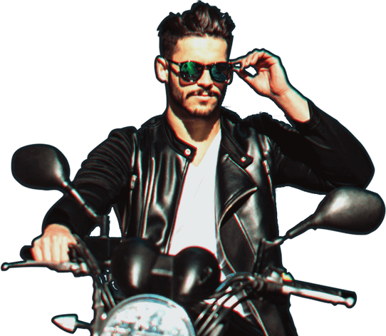 guy in shades sitting on motorcycle