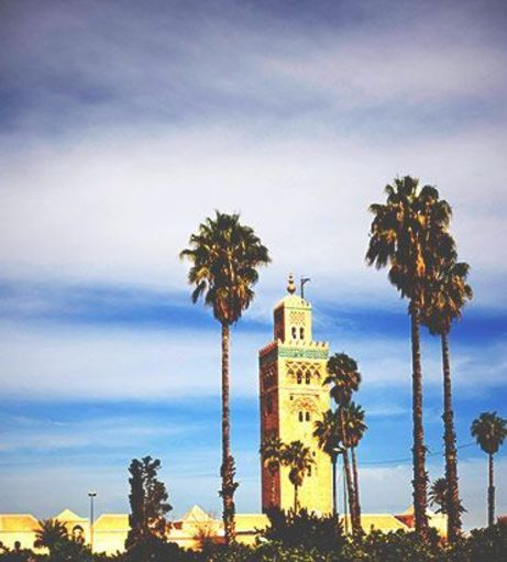 View of Koutoubia Mosque through the palm trees. Discover Marrakech Stag Party ideas below