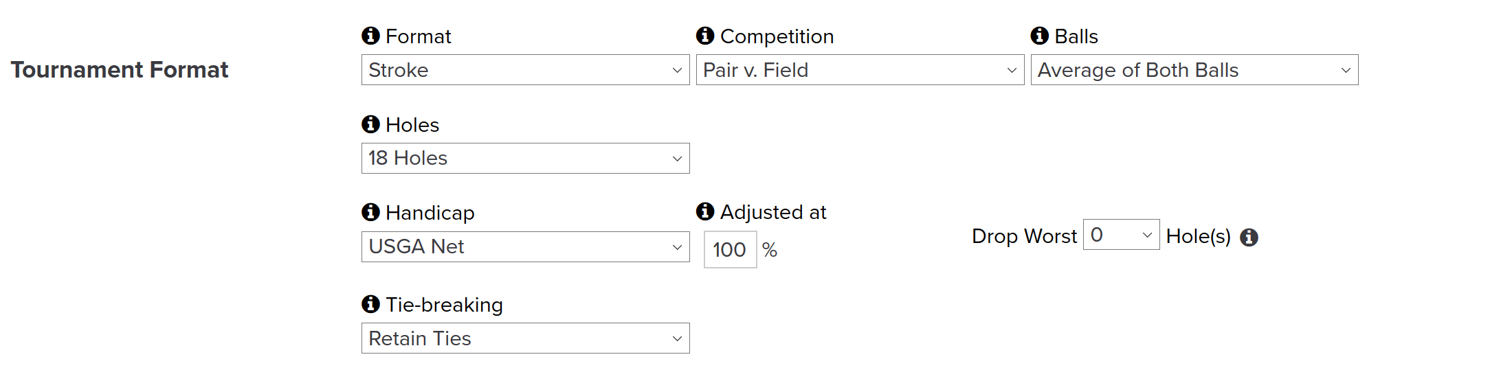 golfgenius can i setup a team tournament that counts the average