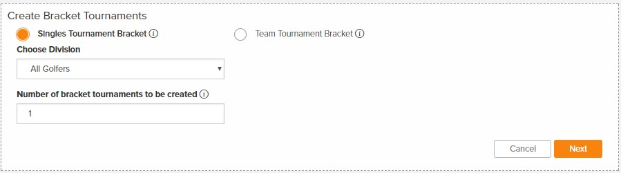 golfgenius singles bracket tournament setup options