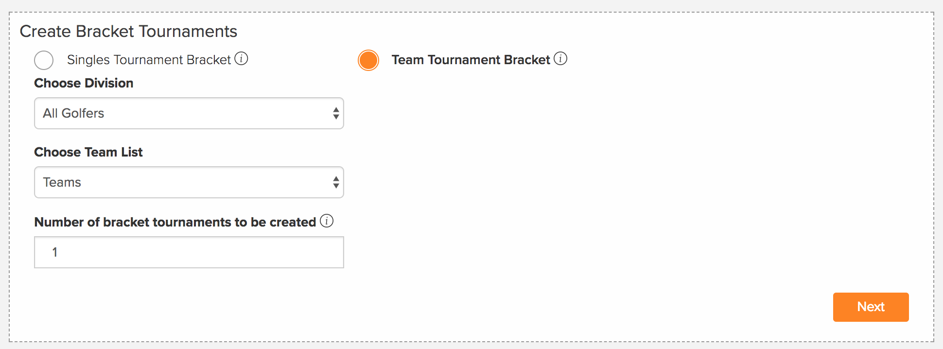 golfgenius team bracket tournament setup options