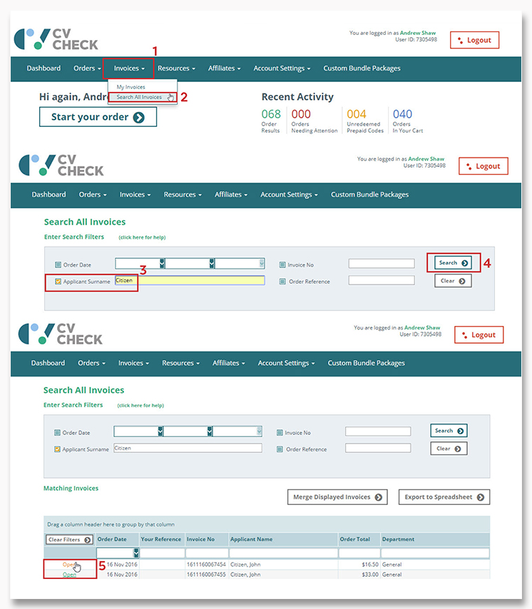 CVCheck How Do I Search For Invoices - Open invoice login